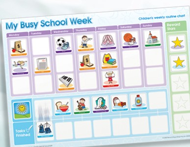 My Busy School Week Children's Activity Chart